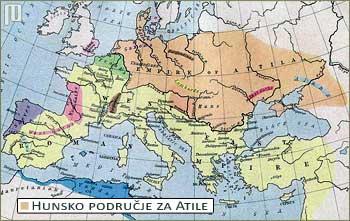Hunsko područje u vrijeme Atile (narandžasto)