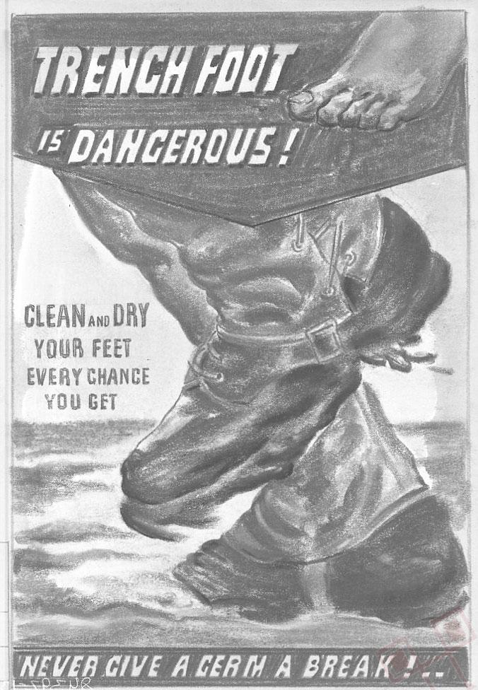 Propagandni plakat o opasnostima bolesti rovovskog stopala