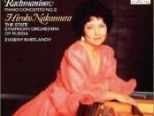 Hiroko Nakamura na naslovnici nosača zvuka sa snimkama klavirskih koncerata Čajkovskog i Rahmanjinova uz dirigenta Evgenija Svetlanova