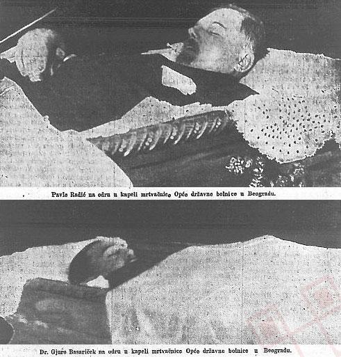 Pavle Radić i Đuro Basariček na odru (Novosti, broj 172, 28. lipanj 1928.)