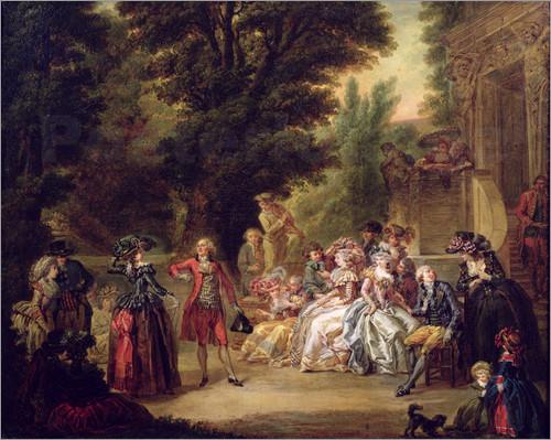 'Menuet ispod hrastovoga stabla', slika nastala 1787. godine pod rukom slikara F. L. J. Watteaua; menuet je bio omiljeni dvorski ples u 17. i 18. stoljeću, a kao glazbeni oblik našao se u mnogim djelima skladatelja raznih epoha i stilova