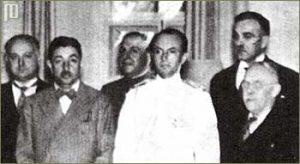 Cvetković, knez Pavle i Maček nakon potpisivanja sporazuma