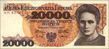 Marija Sklodowska Curie na poljskoj novčanici