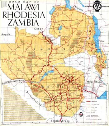 Karta Malavi-Zambi-Rodezija