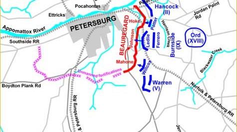 Plavom bojom je označen unionistički napad 30. srpnja 1864. godine