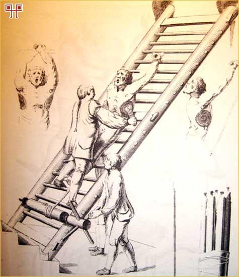 Mučenje na ljestvama istezanjem tijela - Izvor: Malj koji ubija vještice