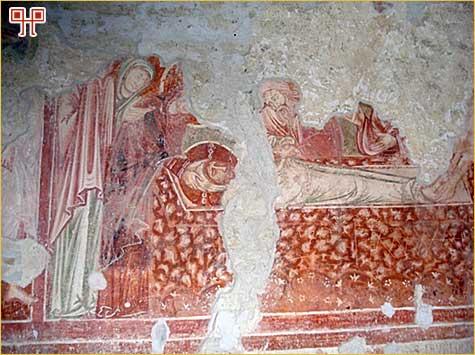 Detalj jedne humske freske iz crkve sv. Jeronima s prikazom polaganja Kristovog tijela u grob.