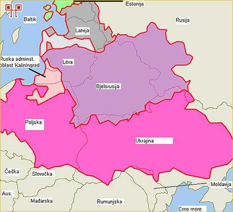 Teritorijalni okvir nekadašnje Poljsko-Litvanske Unije na suvremenoj političkoj karti.