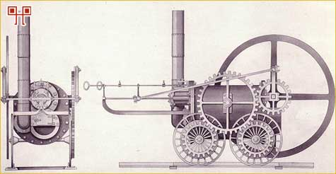 Crtež Trevithickove lokomotive