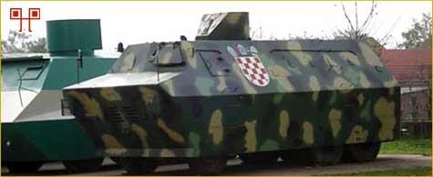 Improvizirani oklopni transporter ZNG-a izložen u krugu vojarne na Sajmištu