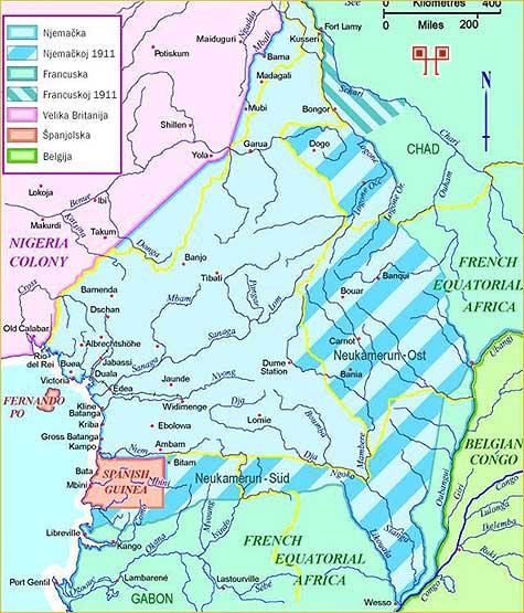 Prikaz raspodjele afričkih teritorija sporazumom između Cambona i Kiderlen-Wächter