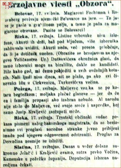 Maljevca su u Obzoru svaki put negativno prikazali, 19.2.1872, Obzor