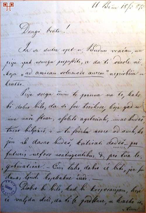 Upute za vladanje Mirka Bogovića Vakanoviću (18.2.1872.)