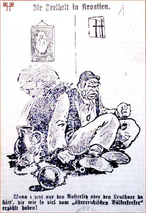 Ironična karukatura o slobodi iz njemačkih novina iz vremena Vakanovića