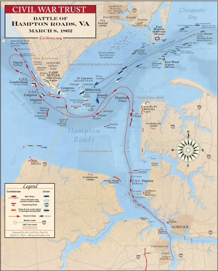 Shema bitke kod Hampton Roads (klikni za punu veličinu)