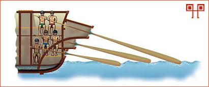Rimska quinquerema ima tri reda vesala, ali koristi pet (quinque) veslača na svakoj strani (kao na slici)
