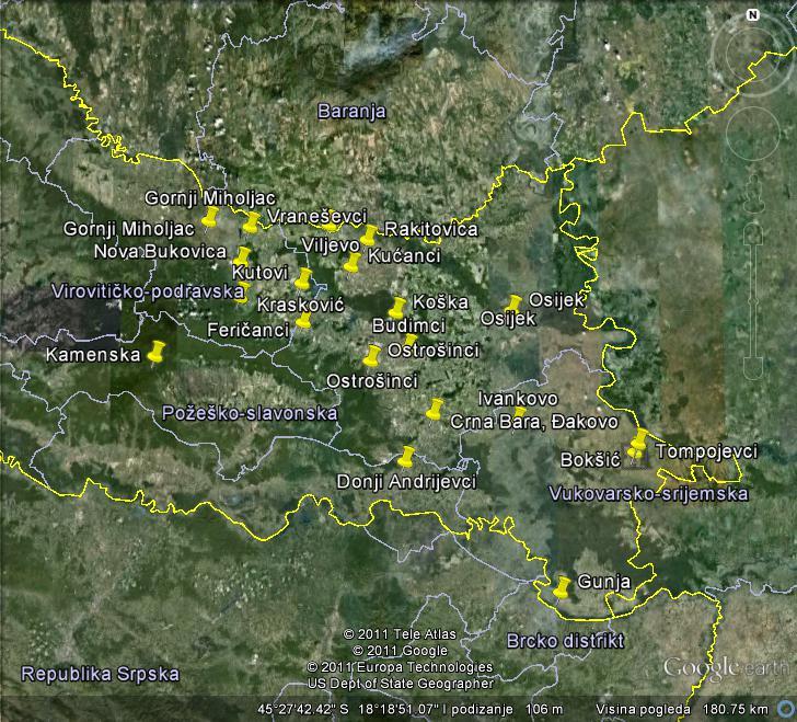 Mjesta u kojima je Čaruga pljačkao prema sudskim spisima (applikacija Google Earth)