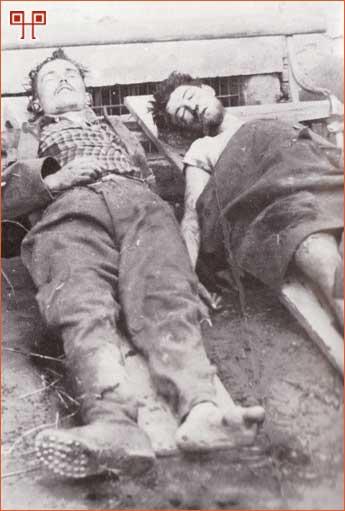 Mrtva tijela Božidara Leinera i njegovog suborca izložena pred ludbreškim starim gradom