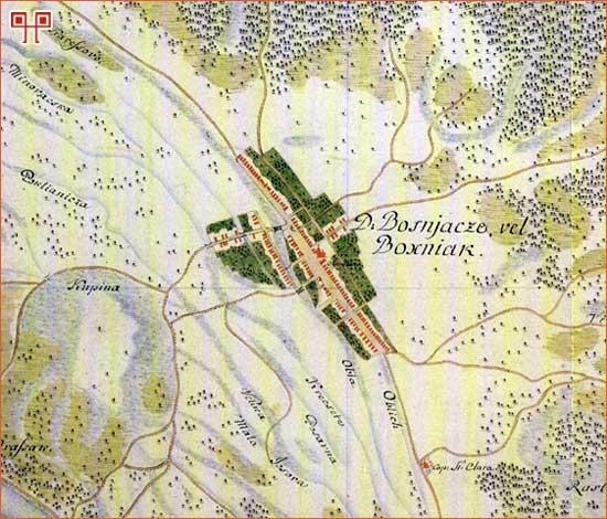Selo Bošnjaci krajem 18. stoljeća prikazano na tajnim zemljovodima 18. i 19. stoljeća, Brodska pukovnija
