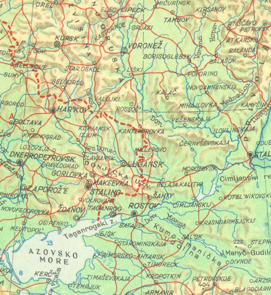 Bojište područje odvijanja zimskih operacija 42/43, horizontalna stranica pokriva razdaljinu od 800 kilometara (M 1:11.250.000)