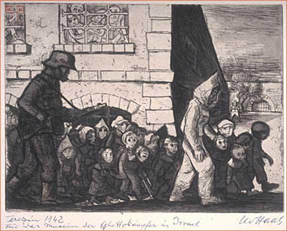 """""""Marš židovske djece u Terezinu"""" Hassov crtež iz 1942."""