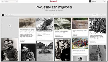 Prikaz izgleda Pinterest ploče sa povijesnim zanimljivostima
