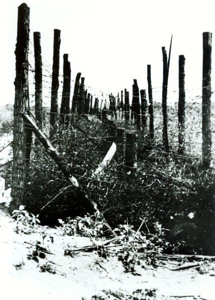 Dvostruki red bodljikave žice oko logora