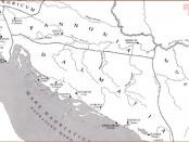 Podjela naših krajeva između provincija Gornjeg Ilirika (Panonija) i Donjeg Ilirika (Dalmacija) (MATIJAŠIĆ 2009)