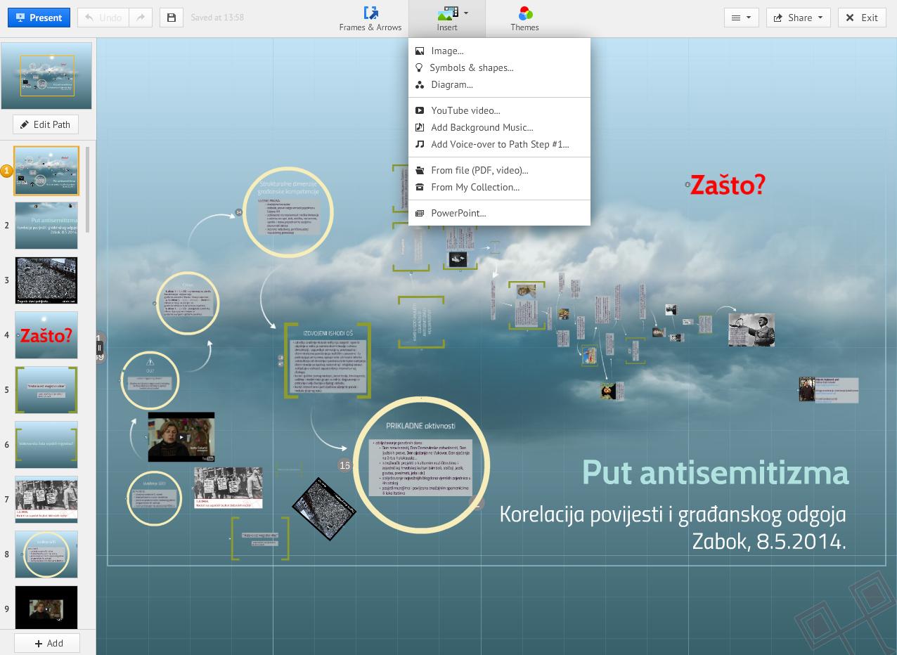 Ekran za uređivanje podsjeća na PowerPoint - trenutno vidite kako se umeću multimedijski dodaci