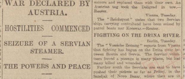 Novinski članak o početku Prvog svjetskog rata