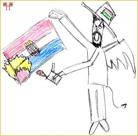 Karikatura Khuena Hedervarya koji je prikazan kao leteći demon koji pali hrvatsku zastavu