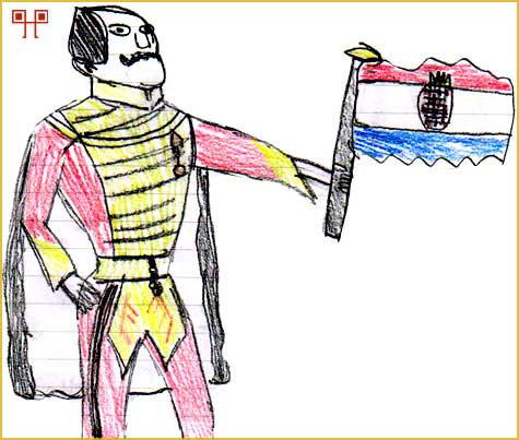 Kod karikature Josipa Jelačića je istaknuto domoljublje držanjem hrvatske zastave