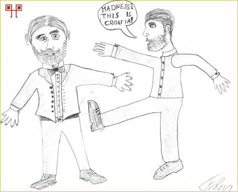 """Autor karikature je spojio znanje o vritnjaku i scenu iz filma """"300"""""""