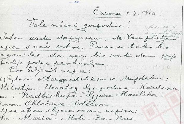 Korespondencija-Ćuk-Szabo-1916.-str. 2 (sl. 3) MK-UZKB/SA-OGSZ