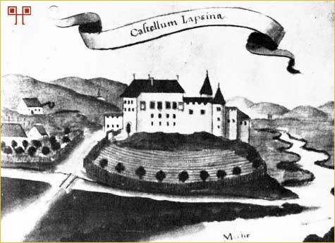 Castellum Lapšina (akvarel iz kodeksa Patačića, 18.st.)