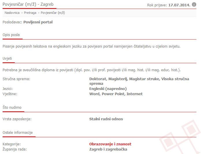 Tekst oglasa na portalu mojposao.net