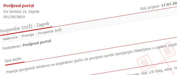 Hrvatski povijesni portal NIJE postavio oglas na MojPosao.net