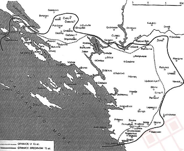 Šibenski distrikt, preuzeto iz Kolanović: «Šibenik u kasnom srednjem vijeku»
