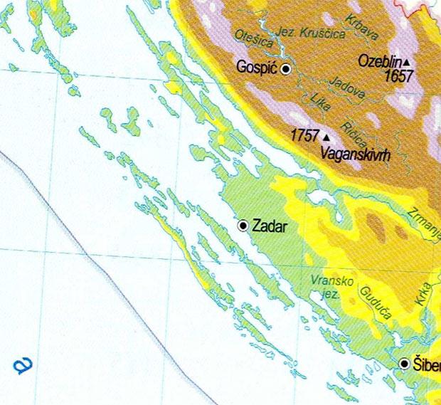 Fizička karta promatranog prostora, preuzeto iz: «Veliki Atlas Hrvatske»