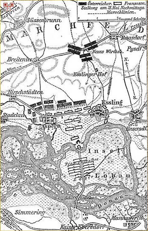 Odnos snaga 21. svibnja 1809. (Austrijanci su označeni crno, a Francuzi bijelo)