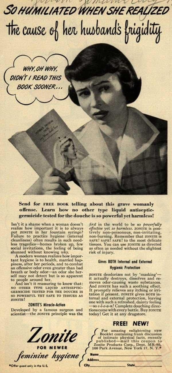 Tako je posramljena nakon što je doznala razlog muževe frigidnosti (reklama za genitalnu higijenu)