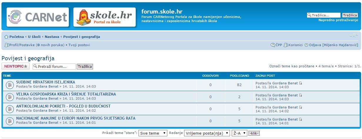 Broj pregleda i odgovora ne pokazuje da je forum korišten tijekom pilotiranja ili da su ti sadržaji do sada uopće korišteni