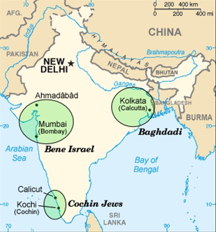 Mapa Indije koja prikazuje glavna područja na kojima su koncentrirane židovske zajednice