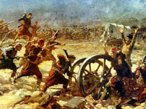 Bulgarian infantry assault successfully the Ottoman lines at Kirklareli during the first Balkan war (1912-1913)