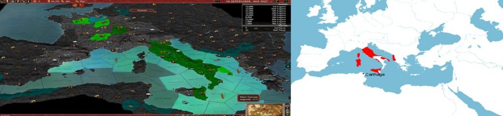 Usporedba osvojenog rimskog teritorija u igri Europa Universalis: Rome i u stvarnom svijetu 269. godine prije Krista