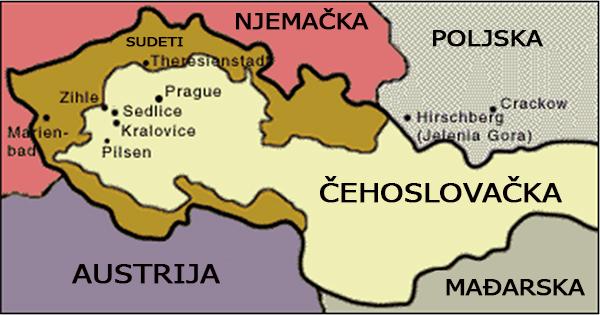 Apsolutna zastupljenost stanovništva njemačkoga porijekla u granicama Čehoslovačke, označeno smeđom bojom