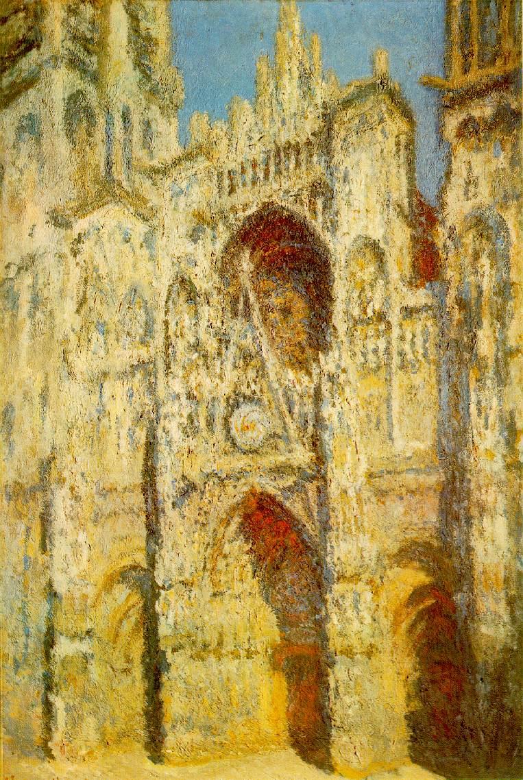 La cathédrale de Rouen, le portail et la tour Saint-Romain, plein soleil, harmonie bleue et or