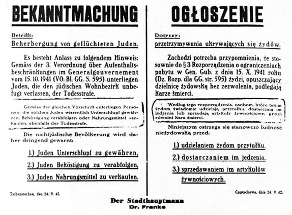 Zabrana pomaganja Židovima, potpisao Frank (1942.)